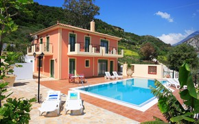 Picture the sun, mountains, nature, pool, Greece, mansion, sun loungers, Cephalonia