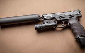Wallpaper gun, silencer, muffler, pistol, Heckler Koch, gun, HK VP9 SK, VP9, weapon, Tactical, Tactical, Weapons, ...