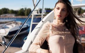 Picture the sun, pose, model, portrait, yacht, makeup, brunette, hairstyle, blouse, beauty, bokeh, Julia Katurina