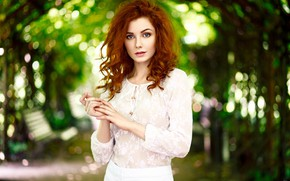 Picture look, trees, pose, Park, model, skirt, portrait, makeup, hairstyle, blouse, beauty, is, alley, redhead, in …