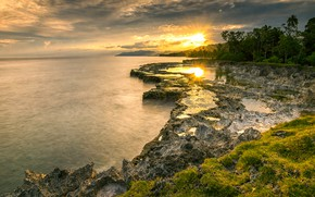 Picture sea, the sun, rays, light, trees, sunset, bright, rocks, pond, rocky shore