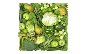 Picture greens, creative, apples, kiwi, peas, white background, lime, pepper, fruit, vegetables, pear, cabbage, square, cucumbers