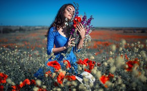 Picture field, the sky, girl, the sun, flowers, pose, photo, model, Maki, chamomile, Sergey Shatskov