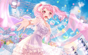 Picture girl, singer, cutie, pink color, BanG Dream!