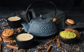Picture tea, kettle, cookies, fabric, cinnamon, cocoa, spices, match
