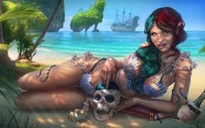 Picture beach, girl, shore, ship, skull