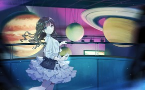 Picture girl, room, planet