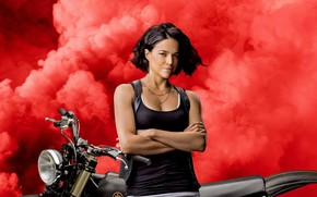 Picture machine, girl, smile, red smoke, The fast and the furious 9, Fast & Furious 9