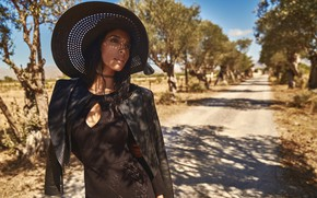 Picture girl, hat, eyes, smile, figure, model, beauty, lips, face, hair, pose, photoshoot, black dress, makeup