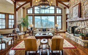Picture Villa, interior, fireplace, living room