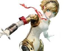 Picture girl, the game, anime, art, blonde, cyborg, person, Persona