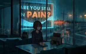 Picture night, rain, mood, anime, art, cafe