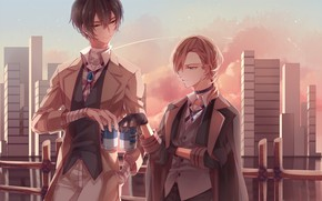 Picture sunset, the city, the evening, guys, two, friends, Bungou Stray Dogs, Stray Dogs: A Literary …