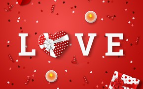 Picture love, background, the inscription, candles, hearts