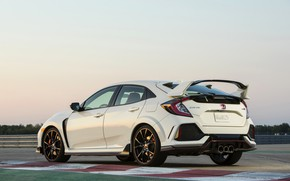Picture white, the sky, track, Honda, hatchback, the five-door, 2019, Civic Type R, 5th gen, FK8