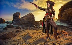Picture sea, girl, stones, pirate, cosplay