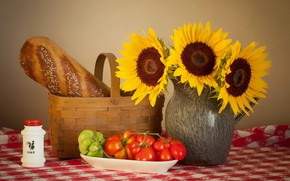 Picture sunflowers, table, basket, plate, pitcher, still life, tomatoes, tablecloth, salt, baton
