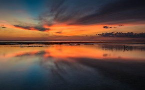 Picture the sky, clouds, sunset, clouds, nature, darkness, reflection, river, shore, the evening, horizon, space, glow, ...