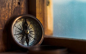 Picture glass, water, ship, the window, compass