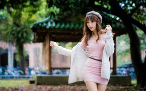 Picture trees, pose, Park, rain, model, portrait, makeup, figure, dress, hairstyle, brown hair, Asian, is, jacket, …