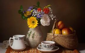 Picture flowers, tea, basket, apples, mug, Cup, vase, still life, basket, lucet