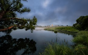 Picture summer, trees, landscape, branches, nature, fog, river, morning, grass, the monastery, Bank, Andrei, Mozhaysk