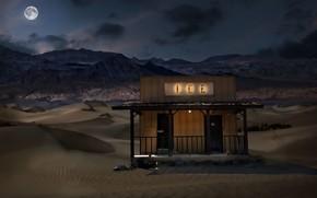 Picture desert, moonlight, Death Valley, digitalart