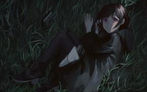 Picture grass, radio, girl, lies