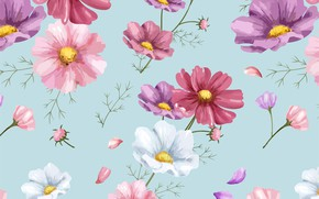 Wallpaper flowers, background, figure, colorful, ornament, pink, flowers, floral, background, pattern, cosmos, floral