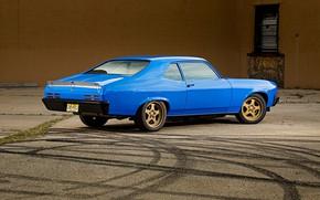 Picture Blue, Coupe, Pontiac, Muscle car, Ventura