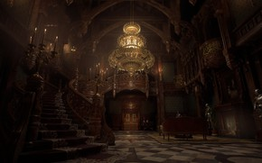 Picture interior, chandelier, stairs, Resident Evil, hall, Chandelier, Resident Evil 8: Village