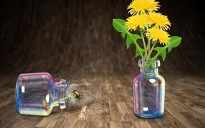 Picture flowers, dandelions, bottles, decoration, Still Life