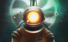 Picture The sun, Figure, Planet, Astronaut, Art, NASA, System, Concept Art, Characters, Syed Ali Qaiser, by …
