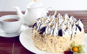 Picture tea, cake, cream, physalis