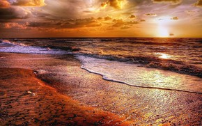 Picture sea, wave, beach, the sky, sunset, clouds, the evening