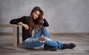 Picture look, girl, pose, jeans, shoes, on the floor, torn, Vyacheslav Shishkov, Ksenia Makhonina
