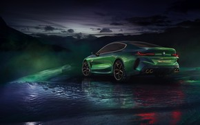 Picture winter, coupe, BMW, back, side, 2018, M8 Gran Coupe Concept