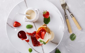Picture Breakfast, strawberry, plate, pancakes, sour cream, Stolyevych Yulia