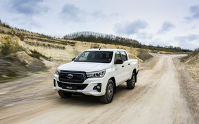 Picture road, white, movement, Toyota, pickup, Hilux, primer, Special Edition, 2019