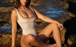 Picture swimsuit, look, girl, pose, legs, Christopher Rankin