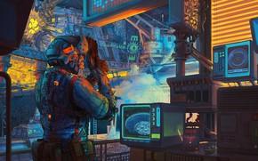 Picture The city, Future, Style, Art, Art, Style, Fiction, Illustration, Cyberpunk, Sci-fi, Cyberpunk, Synth, Retrowave, Retro …