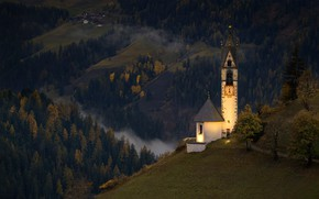 Picture autumn, forest, mountains, hills, valley, Italy, Church, panorama, Italy, South Tyrol, South Tyrol, The Val, …