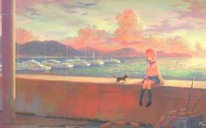 Picture sea, the sky, kitty, seagulls, ships, girl