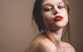 Picture look, girl, squirt, face, model, hair, makeup, lipstick
