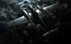 Picture clouds, night, night, Messerschmitt, fighter-interceptor, twin-engine, piston, Luftwaffe, The Third Reich, Bf.110G-4
