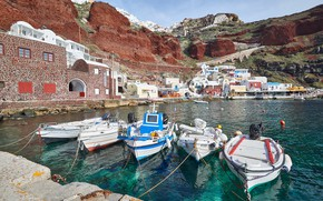 Picture coast, home, Bay, boats, Santorini, Greece, pier, Santorini, Oia, Greece, Amoudi Bay, Amoudi Bay