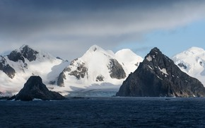 Picture sky, sea, landscape, nature, water, mountains, clouds, rocks, snow, Antarctica, water ripples