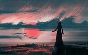 Picture girl, sunset, background, dusk, photoshop, painting, digital art, illustration, illustrate