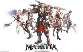 Picture girls, white background, guys, warriors, characters, Maestia