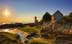 Picture sea, stones, shore, lighthouse, house